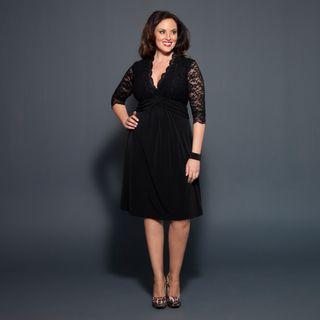 Kiyonna Womens Plus Boudoir Black Scalloped Lace Bodice Dress