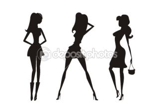 Vector fashion shopping girls silhouettes  Foto stock © Dorota