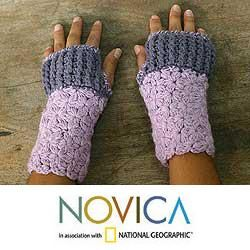 Alpaca Wool Lovely Lilac Fingerless Gloves (Peru)