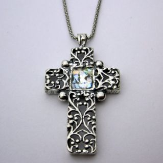 Sterling Silver Ancient Roman Glass Cross Necklace (Israel