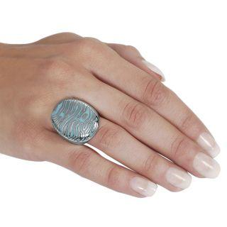 Stainless Steel Zebra Striped Turquoise Enamel Ring