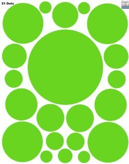 Polka Dot Circle Dots Wall Decals (21) Vinyl Lime Green