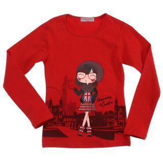 Coloris rouge   Tee shirt manches longues fille   Composition 85%