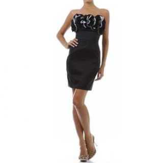 Black Strapless Dress Contrast Ruffle Bust Size Large