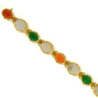 Mason Kay 14k Gold Green, Lavender and Red Jadeite Link Bracelet Today