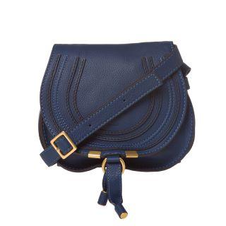 Chloe Marcie Mini Navy Leather Saddle Bag
