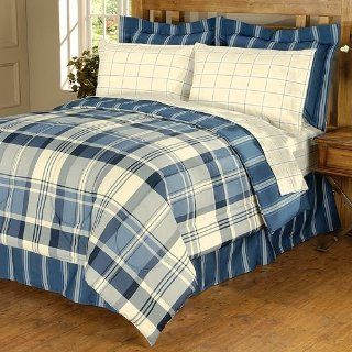 The Big One Jackson Full 8 Piece Bed in Bag Set Blue Plaid