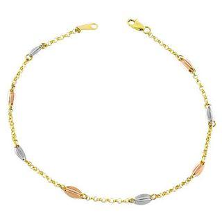 14k Tri tone Gold Bean Chime Anklet