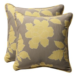 Decorative Grey/ Yellow Floral Square Outdoor Toss Pillows (Set of 2