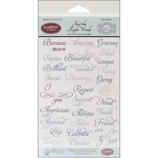 JustRite Stampers Clear Stamp Set Just The Right Words 32pc