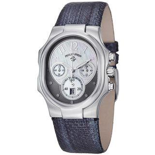 Philip Stein Womens Signature Navy Metallic Leather Strap Watch