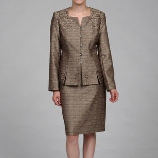 John Meyer Collection Womens Embellished Skirt Suit