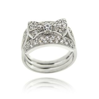 Icz Stonez Sterling Silver Cubic Zirconia Insert Style Bow Ring