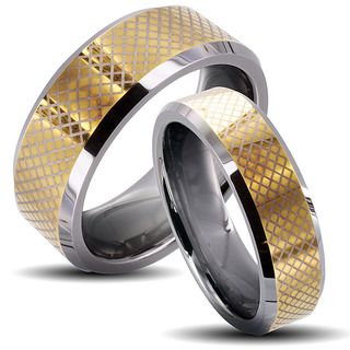 Tungsten Carbide Two tone Checkered His and Her Wedding Band Set