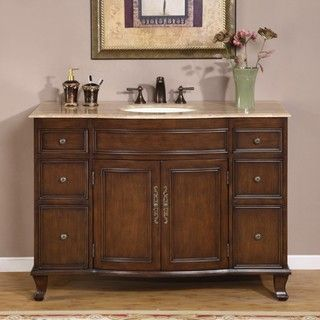 Silkroad Exclusive Single Sink 48 inch Travertine Top Vanity Cabinet