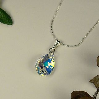 Jewelry by Dawn Sterling Silver Necklace With Small Crystal AB Pear