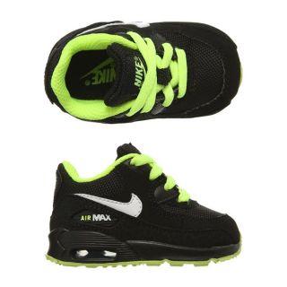 Modèle Air Max 90. Coloris  noir et vert fluo. Baskets NIKE bébé