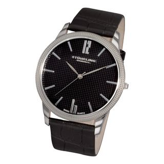 Stuhrling Original Mens Del Mar Swiss Quartz Black Leather Strap