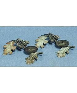 Black Acorn Wrought Iron Candle Holders (Set of 2)