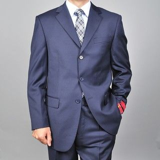 Mantoni Red Labeled Mens Navy 3 button Wool Suit