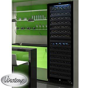 Vinotemp 142 Bottle Dual Zone Wine Cooler Black Cabinet