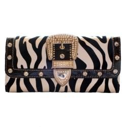 Womens Faux Leather Animal Print Buckle Wallet