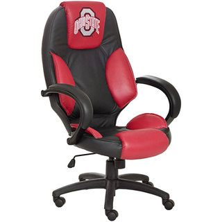 Officially Licensed NCAA Logo Red and black Leather Office Chair