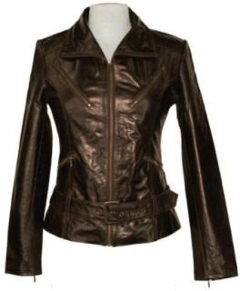 Womens brown real leather biker jacket #Z5 Clothing