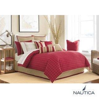 Nautica Brayton Point Red Full size 8 piece Bed in a Bag with Sheet