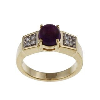 FJC 14k Yellow Gold Amethyst and 1/6ct TDW Diamond Ring (H I, I1 I2