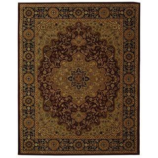 Handmade Heritage Tabriz Red/ Black Wool Rug (6 x 9)