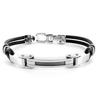 Stainless Steel and Black Rubber Mens Cable Band Bracelet