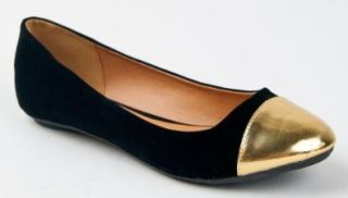 SAVANA 149X Gold Cap Toe Slip On Classic Ballet Flat Dress Shoe Shoes