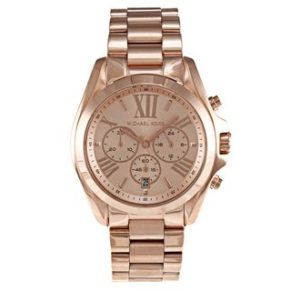 Michael Kors Womens Bradshaw Stainless Steel Rose Goldtone Watch