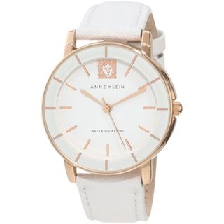 Anne Klein Womens AK 1058RGWT White Leather Quartz Watch