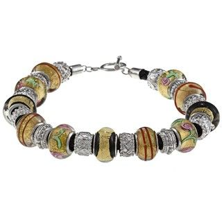 La Preciosa Silvertone Multi colored Glass Bead Leather Bracelet