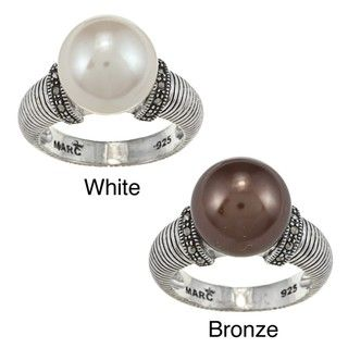 Sterling Silver Faux Pearl and Marcasite Ring