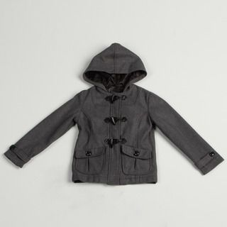 Velvet Chic Girls Solid Charcoal Hooded Jacket