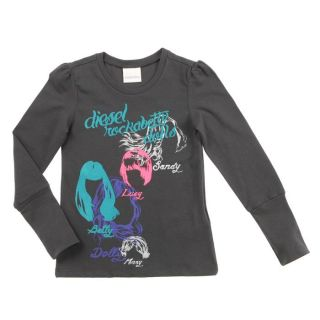 Coloris  anthracite. T shirt Enfant Fille, 93 % coton, 7 %