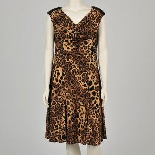 Marina Womens Plus Size Leopard Printed Jersey Dress