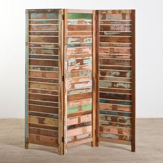 Reclaimed Wood Three Panel Screen (India)