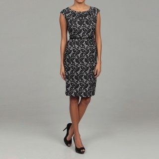 London Times Womens Black/ White Belted Dress