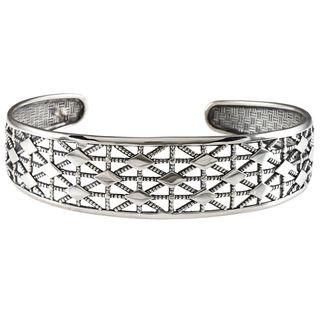 LucyNatalie Sterling Silver Diamond shape Flexible Cuff Bracelet