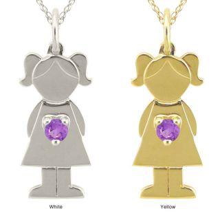 10k Gold Designer Little Girl Genuine Amethyst Necklace