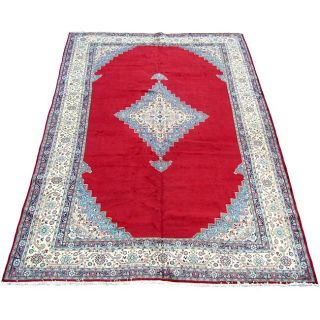 Persian Sarouk Hand knotted Red Rug (112 x 176)