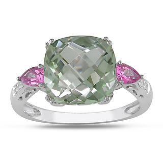 Miadora 10k White Gold Gemstone and Diamond Ring (H I, I2 I3