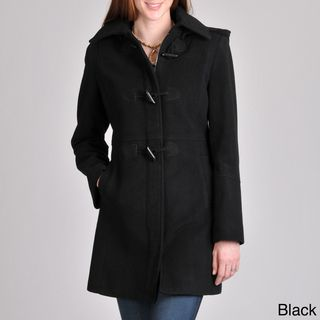 Nautica Womens Toggle/ Zip Wool blend Coat with Removable Hood