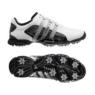 Adidas Mens Powerband 4.0 White/ Black/ Silver Golf Shoes