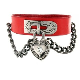 Red Leather Cubic Zirconia Heart Lock and Chain Bracelet