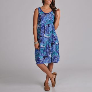 La Cera Womens Crinkle Printed Dress